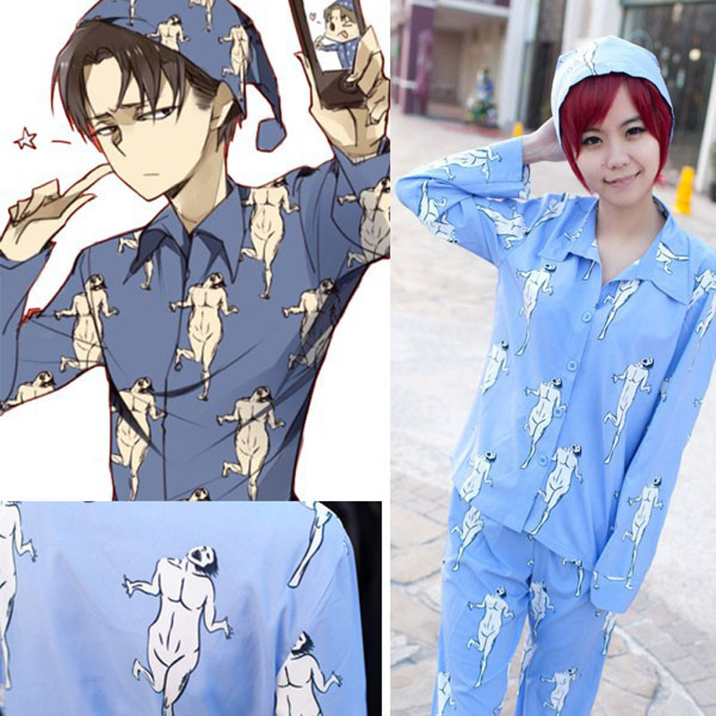 Attack on Titan Shingeki no Kyojin Levi Rivaille pajamas pyjamas cosplay Costume Tops Pants Hat