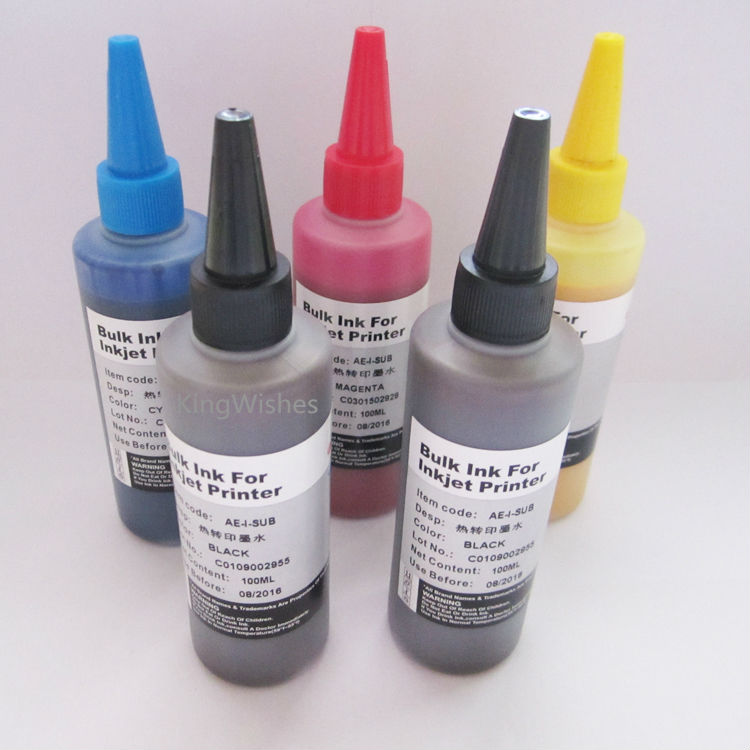 ФОТО 5 Bottles 100ML T2730 T2731 T2732 T2733 T2734 Sublimation Ink For Epson XP-600 XP-800 XP-610 XP-810 Printer