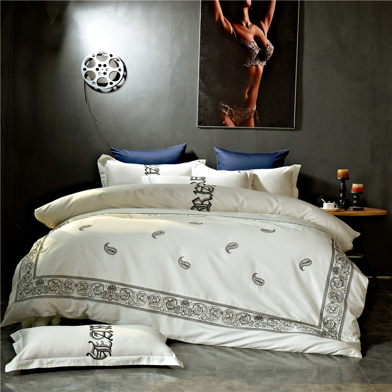 Papa&Mima bohemia style egyptian cotton fabric king queen size Embroidery Technics Bedlinens Quilt Cover Bedding Set