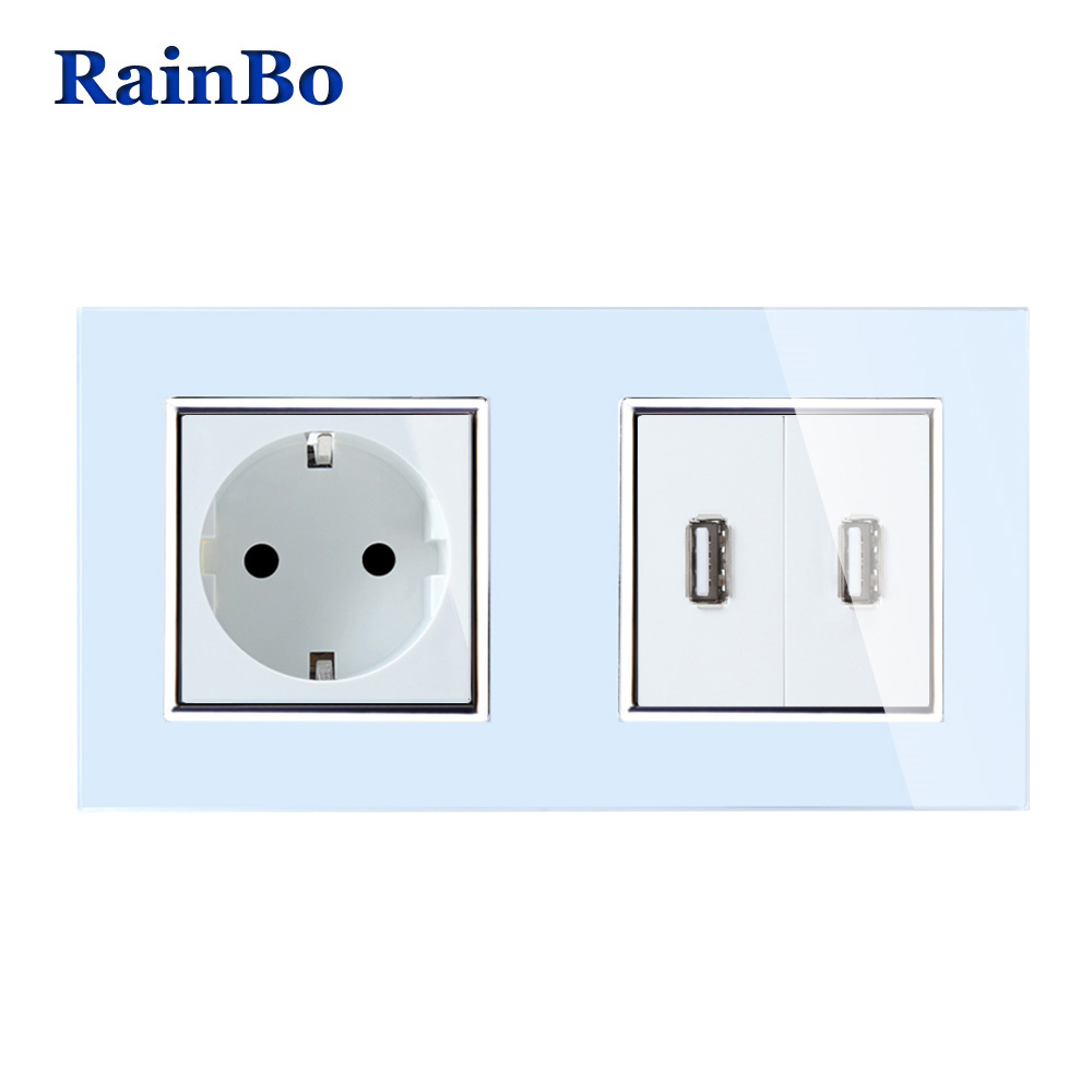 Rainbo europeo estándar toma + toma USB salida USB panel de cristal AC Wall Power Smart outlet socket A28E82USW/ b