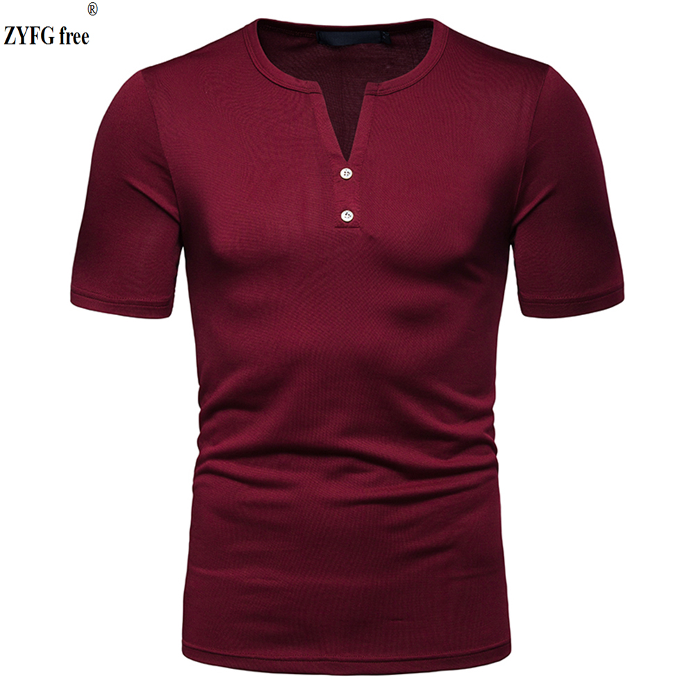 New hot popular men 39 s V neck T shirts solid color casual short sleeved t shirt polyester blended t shirts home blouse Tees in T Shirts from Men 39 s Clothing