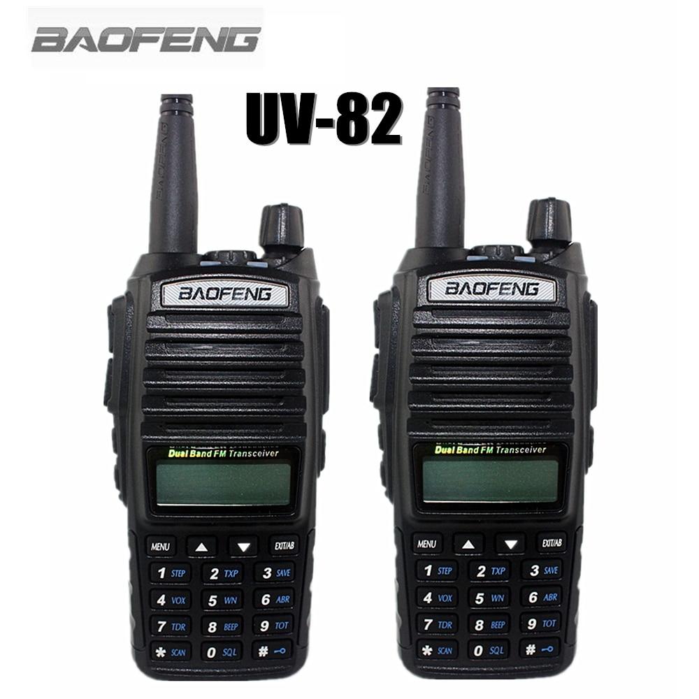 2-PCS BAOFENG UV-82 VHF UHF 128 CHS Handheld Transceiver  With LCD FM Radio Receiver CB Radio Dual PTT Launch Key Flashlight