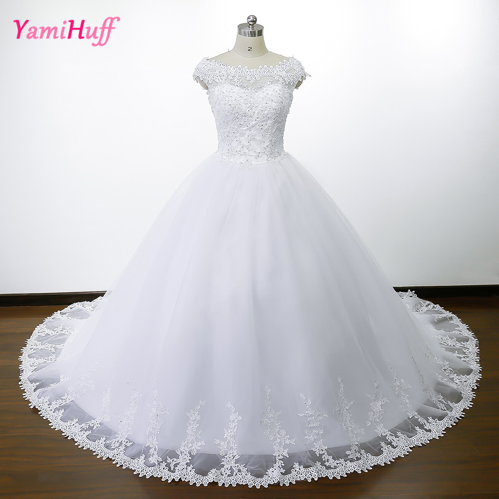 Vintage Lace Wedding Dress Ball Gown Boat Neck