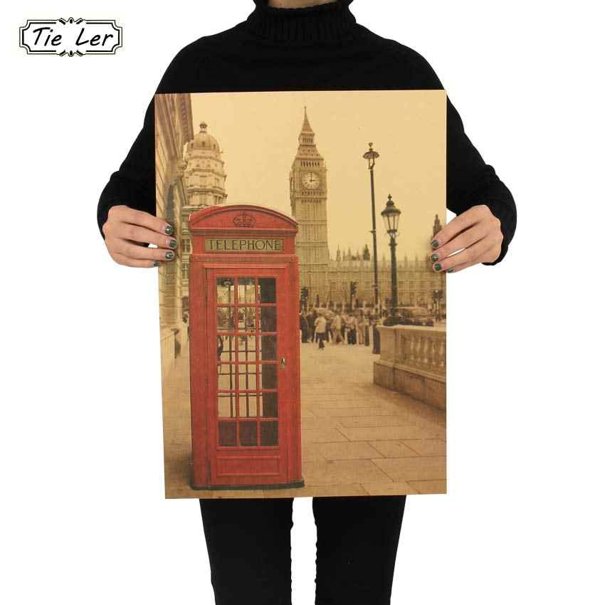 London Red Telephone Booth Kraft Paper Poster Livingroom Bedroom Home Decor Retro Landscape Wall Sticker 51.5x36 cm