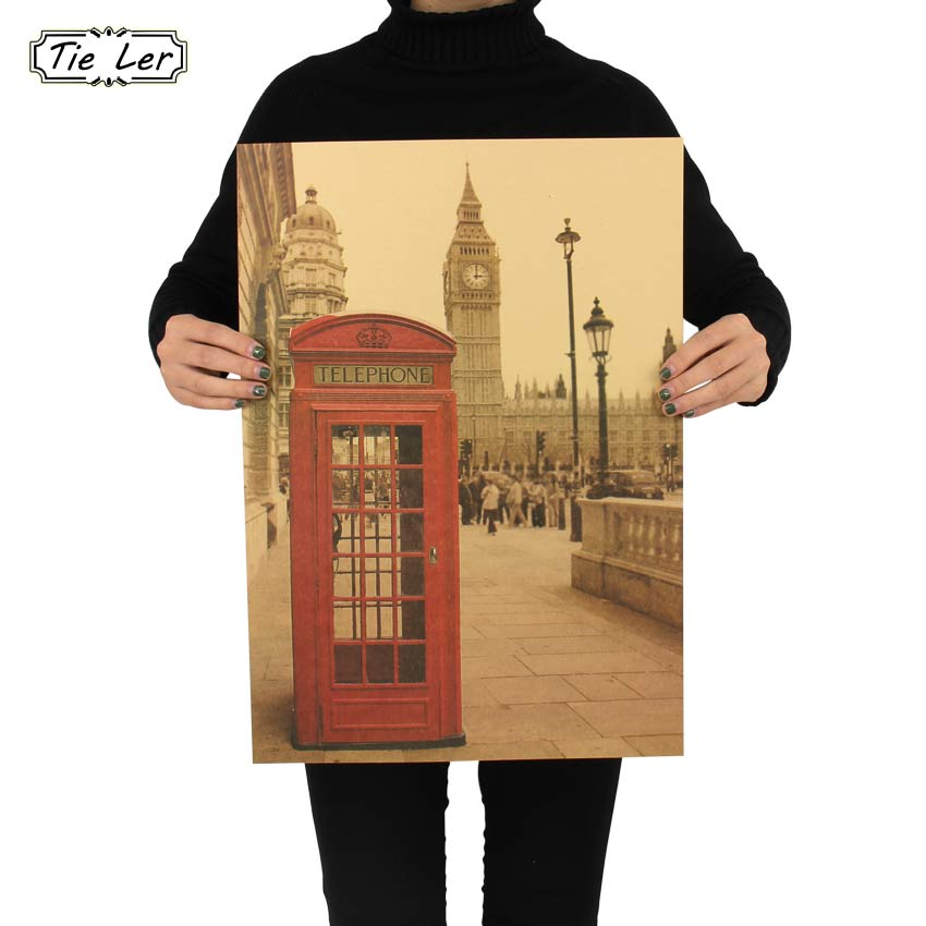 London Red Telephone Booth Kraft Paper Poster Livingroom Bedroom Home Decor Retro Landscape Wall Sticker 51.5x36 cm