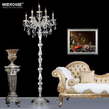 Lampadaire moderne en Cristal Lustres lampadaire luminaire Cristal argent candélabre lampe sur pied éclairage de haute qualité