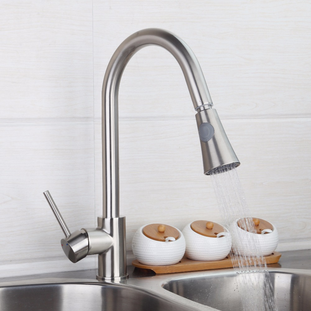 BEST Nickel Brushed Kitchen Pull out Faucet Luxury Type Washbasin Sink Mixer Tap with Double Water