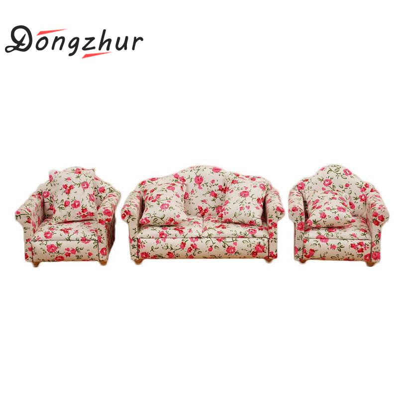 Dongzhur Dolls House 1/12 Scale Miniature Furniture Fabric Model Sofa And Chair 3 Pcs Set Mini Dollhouse Furniture Doll mini dollhouse mini furniture model living room doll baby baby doll