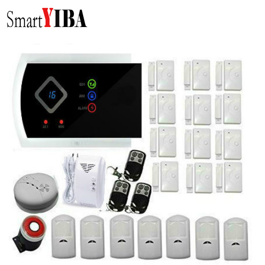 SmartYIBA 99 Wireless Zones Wireless GSM SMS Home Security System Wired Siren Burglar font b Alarm