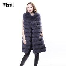Фотография Wisstt Real Fox Fur Vest Natural Whole Fur Coat Women Winter Standard Sleeveless Button natural fur real fur coat