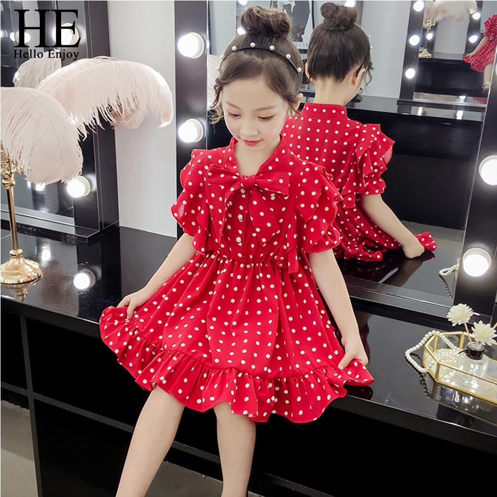 HE Hello Enjoy Summer Girls Clothing Girls Dress Bowknot Polka Dot Chiffon Dress Girl Princess Dresses Kids Clothes Fashion 2019