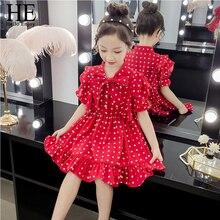 HE Hello Enjoy Summer Girls Clothing Girls Dress Bowknot Polka Dot Chiffon Dress Girl Princess Dress