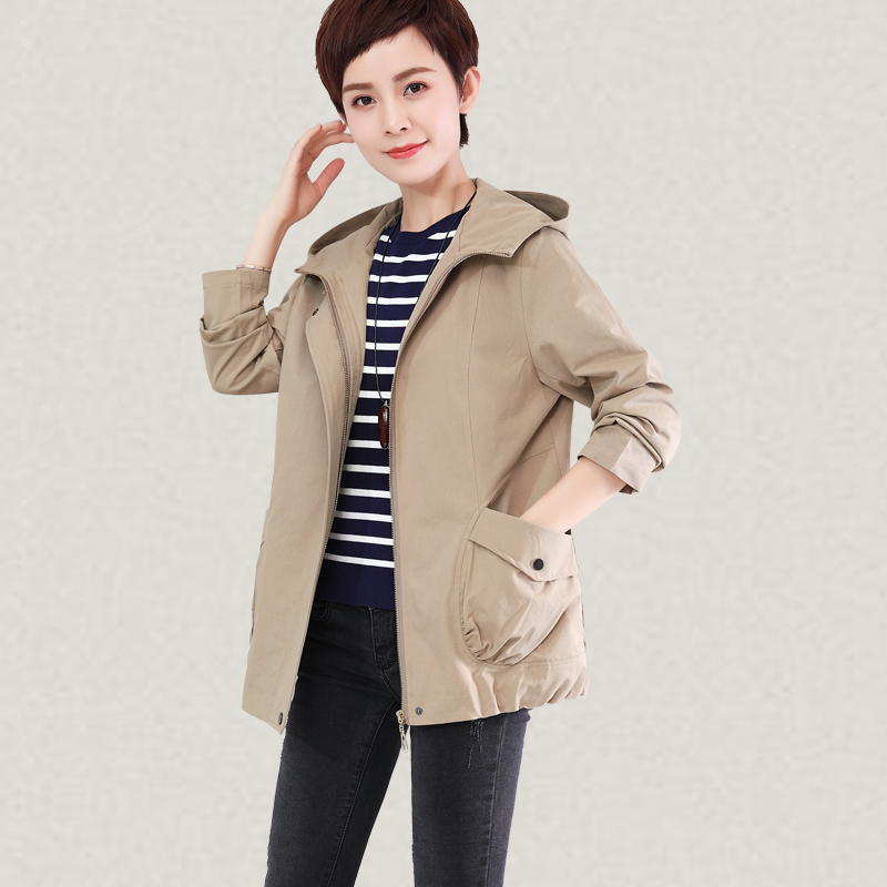 2019 Women Windbreaker Fashion Spring Autumn Loose Hooded Outwear Casual top Plus Size 5xl Solid Female   Trench   Coat High quality