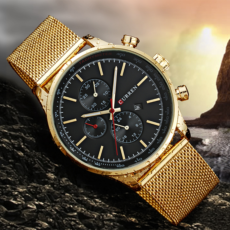 2017 CURREN Watches Luxury Brand Men Watch Full Steel Fashion Quartz-Watch Casual Male Sports Wristwatch Date Clock Relojes 8227 curren watches mens brand luxury quartz watch men fashion casual sport wristwatch male clock waterproof stainless steel relogios