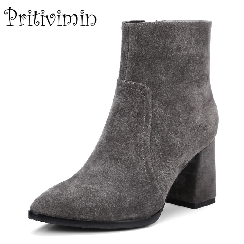2018 New ladies winter warm lined shoes woman black genuine leather botines mujer thick high heel ankle boots Pritivimin FN109 pritivimin fn81 winter warm women real wool fur lined shoes ladies genuine leather high boot girl fashion over the knee boots
