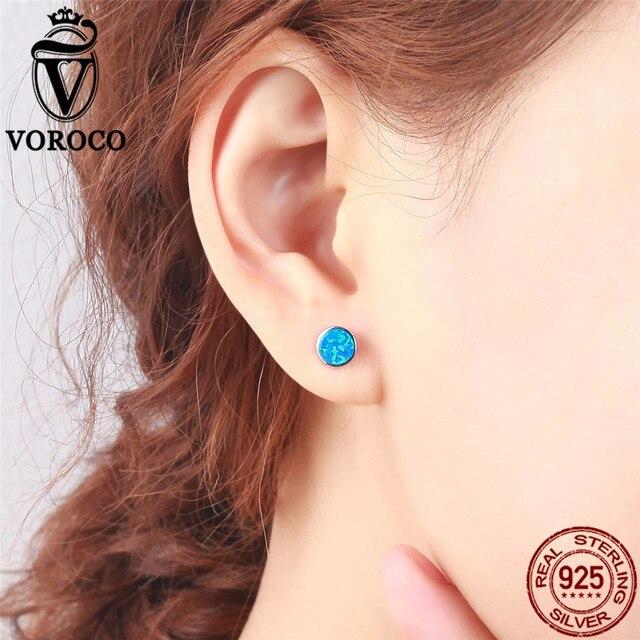 VOROCO Genuine 925 Orecchini In Argento Sterling Semplice Rotonda Glitter Blue Opal Orecchini Donna Ragazze Belle Gioielli Brincos VSE090