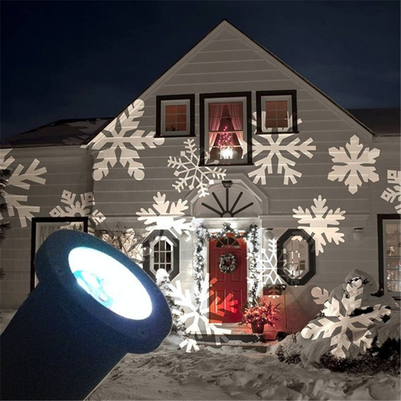 Tanbaby Holiday Decoration Waterproof Outdoor LED Stage Lights Christmas Snowflake Star Heart Projector lamp Home Garden Light