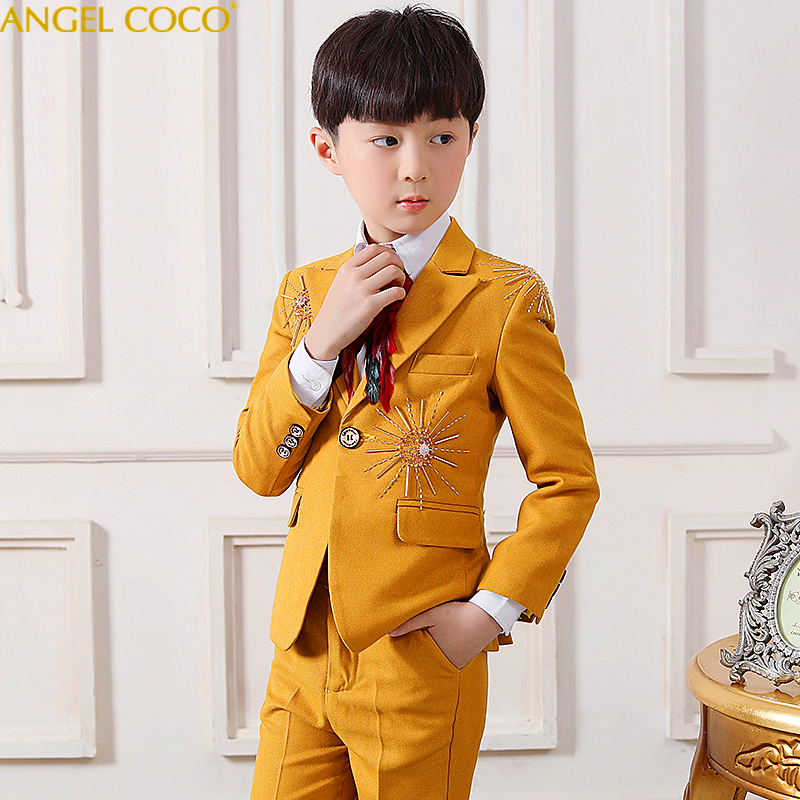 Yellow Red boys suits for weddings kids Blazer Suit for boy costume enfant garcon mariage jogging garcon blazer boys tuxedoYellow Red boys suits for weddings kids Blazer Suit for boy costume enfant garcon mariage jogging garcon blazer boys tuxedo