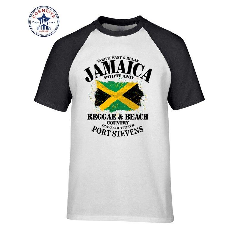 Mode O Cou À Manches Courtes T-shirt En Coton Hommes Vêtements Reggae et Plage Pays Jamaïque Portland Drapeau Imprimer Drôle T chemise Hommes