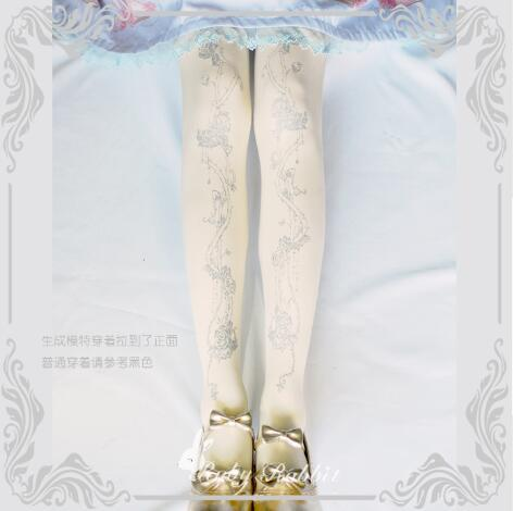 Ruby Rabbit Branded Lolita Tights Gothic Crown and Thorns Printed Girl's Pantyhose