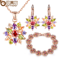 BAMOER  Rose Gold Plated Wedding Jewelry Sets for Women with High Quality Multicolor AAA Zircon