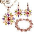 Bamoer chapado en oro rosa de la boda multicolor aaa circón sistemas de la joyería para las mujeres con alta calidad