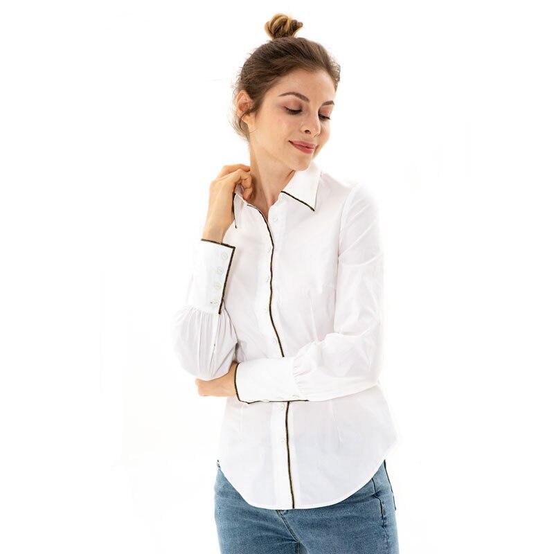 Apperloth Chemise En Coton Blanc Chemisier 2018 Automne Blouses Shirts Noir Blanc Bord Femmes À Manches Longues Revers Chemise Décontractée Bureau
