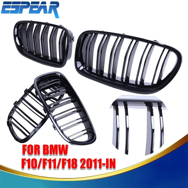 2x Gloss Black Double Slat Front Grill Kidney Grille For BMW F10 F11 F18 2011-2016 5-Series 520i 528i 530i 535i 550i #9243 2016 new a pair front grilles left and right double line grille gloss black front grills for bmw 3 series e46 2002 2004 4 door