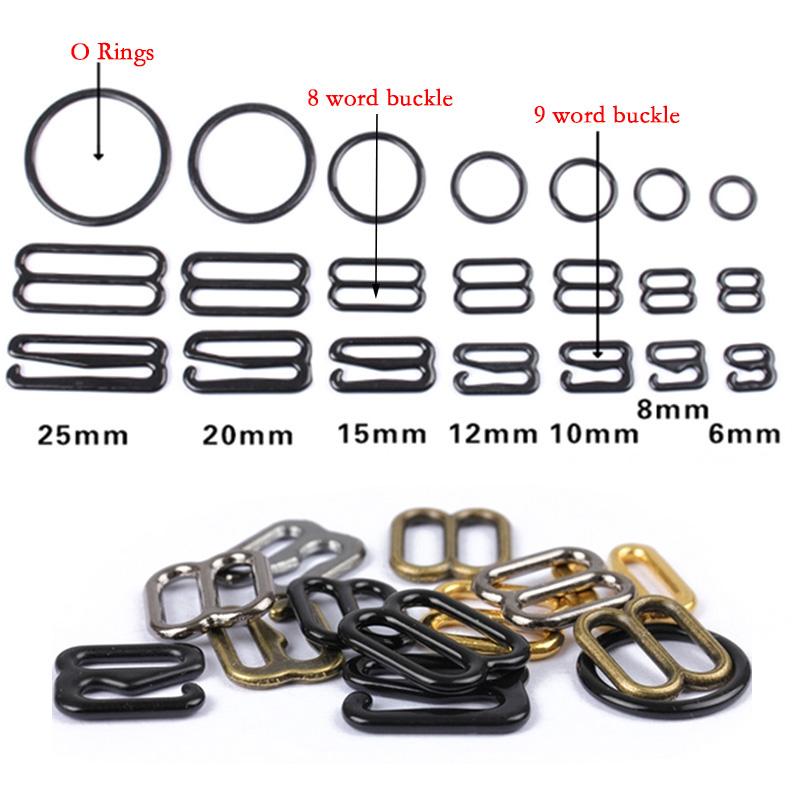 6mm 100Pcs Bra Strap Adjuster Buckles Lingerie Adjustment Strap Clips Clasp Sewing Craft Black