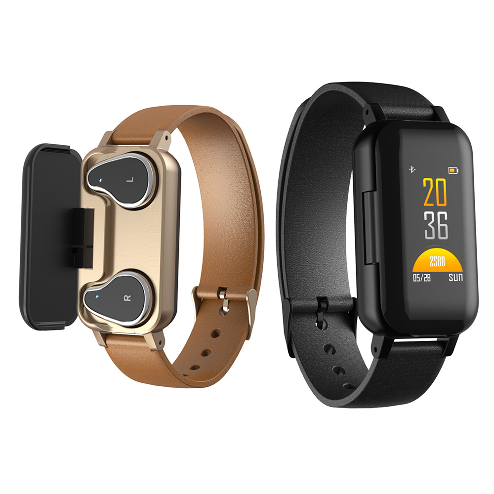 <font><b>T89</b></font> <font><b>TWS</b></font> Smart Binaural Bluetooth Music Headphone Fitness Bracelet Heart Rate Monitor Smart Wristband Sport Watch Men Women image
