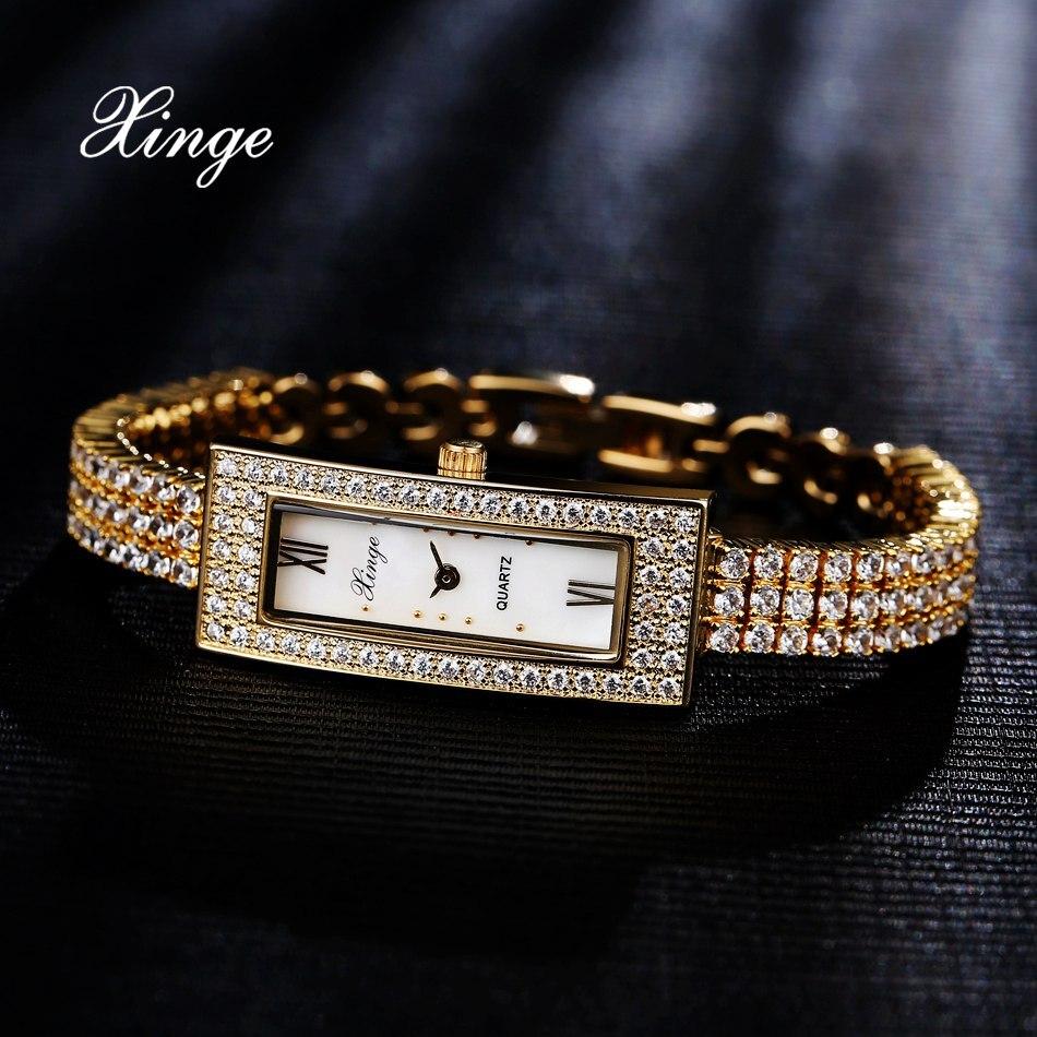 Xinge Top Brand Luxury Women Bracelet Watch Stainless 3A Zircon Crystal Quartz Watch Women Dress Business Fashion WristWatch контроллер pci e sata2 2port esata 2port ide raid jmb363 pcie005 espada 43063 oem