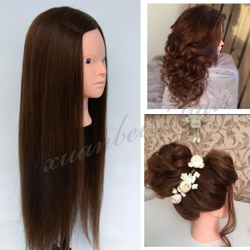 28 Brun Mannequin Tête 100% Réel Cheveux Professionnel Styling Tête Pour La Formation Des Coiffeurs Tête Pour Pratique Maquillage manequim