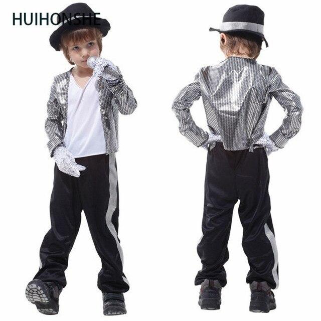 89142bd389cc HUIHONSHE Superstar Michael Jackson adatta Halloween bambini costume  cosplay cantante prestazioni abiti da ballo fase Di