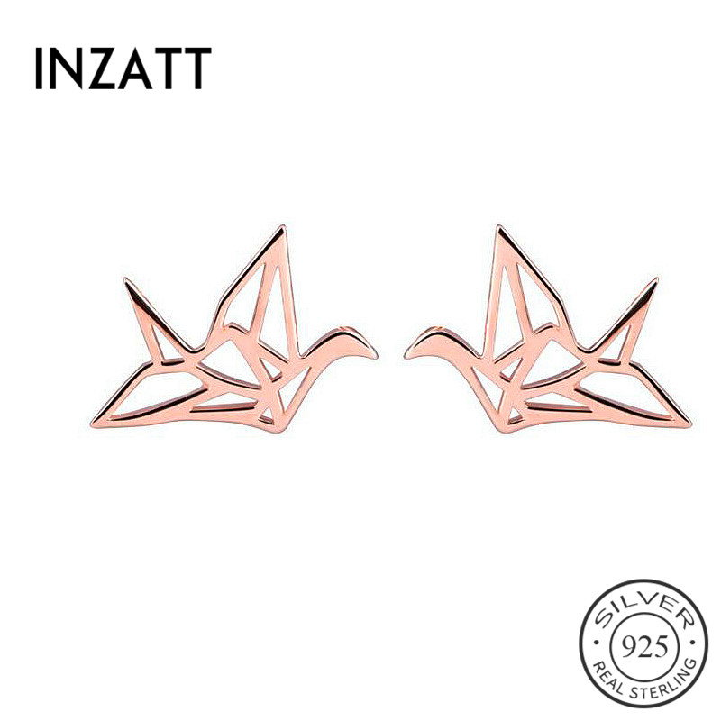 Pretty Hollow Paper crane Stud Earrings For Women Party 925 Sterling Silver Ethnic Fine Jewelry Two Colors Accessories