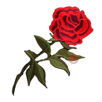 1 Pcs Top Patches Iron-on Sew-on Red Rose Flower Embroidery Patch Motif Applique Children Women DIY Clothes Sticker Wedding