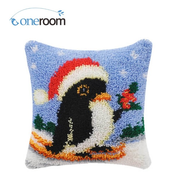 Bz349 Penguin 5th Hook Rug Kit Pillow Diy Unfinished Crocheting Yarn Mat Latch