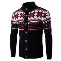 Autumn Winter Chic Knitted Sweater Cardigan Men Chrismas Knitwear Vintage Ethnic Style Long Sleeve Sweaters Jacket