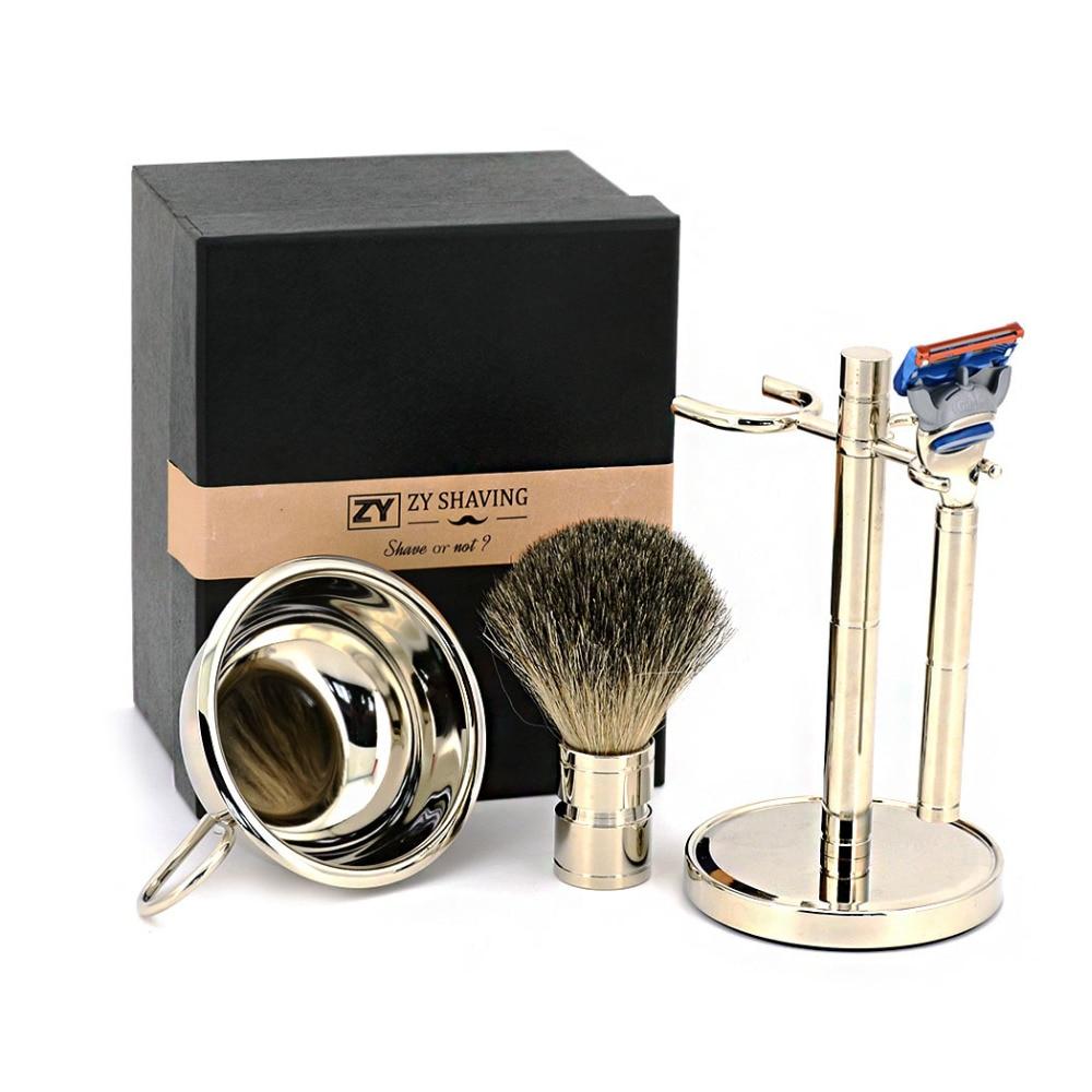 ZY 5 Blade Men Shaving Set Safety Razor Stand Holder Shave Beard Badger Hair Shaving Brush Face Soap Bowl Mug шина kumho wp 51 175 70 r13 82t