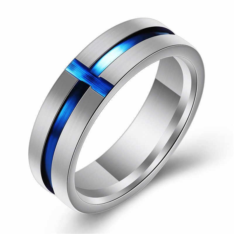 Princess Crown รูปร่าง Tiaras Blue Cubic Zircon งานแต่งงานแหวนผู้ชายผู้หญิงสแตนเลสสตีลสายบางคู่แหวน
