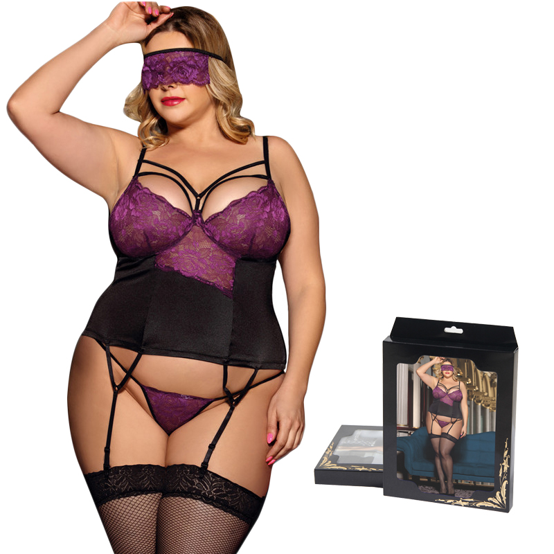 With Eyepatch Lingerie Sexy Hot Erotic Lace Cup Patchwork Nighties For Women Satin Sexy Costumes Big Size Sleepwear Sexy RW80419