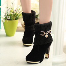 2020 winter new thick with shoes women's boots high-heeled f