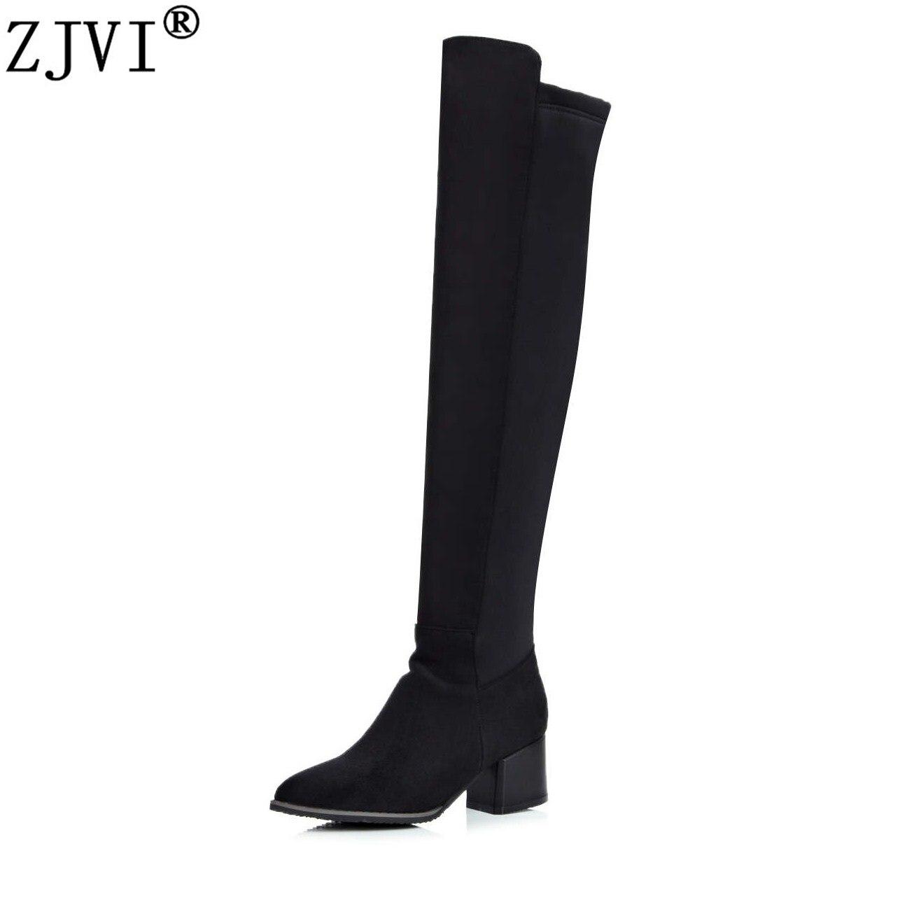 ZJVI frauen über das knie stiefel frau herbst winter stretch nubuk oberschenkel  hohe stiefel 2018 hohe quadratische heels spitz schuhe a3d3490788