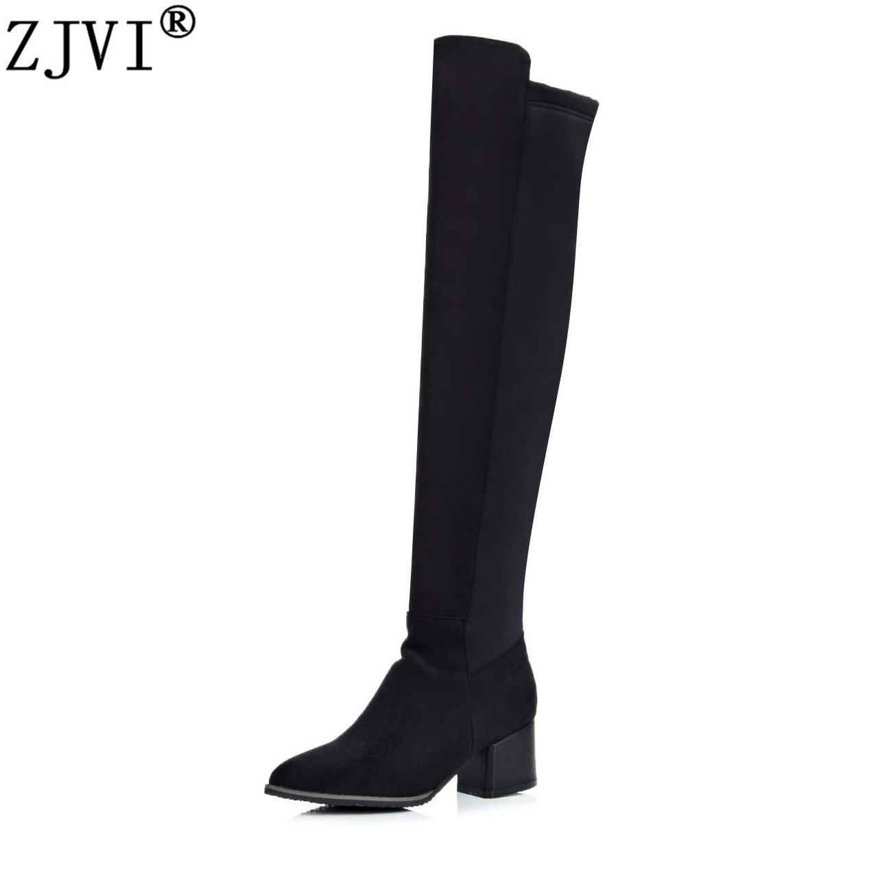 ZJVI women over the knee boots woman autumn winter stretch nubuck thigh high boots 2018 high square heels pointed toe shoes hot runway sexy women boots stretch silk pointed toe stiletto high heels over the knee boots jersey thigh high boots shoes woman