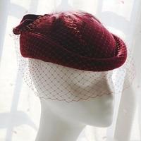 High Quality Fedoras Flower Hat Banquet Wedding Bride Hats For Women Ladies Church Formal Wool Hat