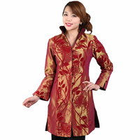 Chinese National Style Women Long Windbreaker Silk Satin Jacket Tradition Coat Floral Tang Suit Tops S M L XL XXL XXXL M 72