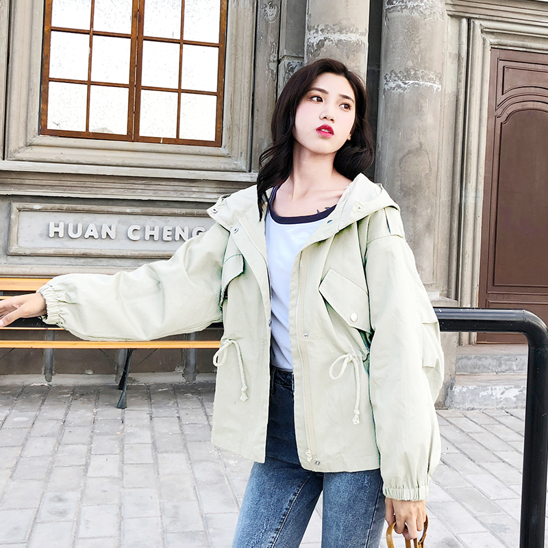 FTLZZ New Loose Trench Coat Spring Autumn Women's Hooded Black Green Windbreaker Outerwear Female Casual Trench Coat 4