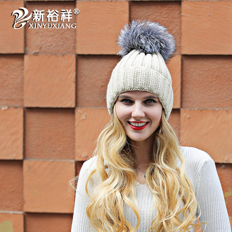 d12fdc94d Women's winter hat fashionable Acrylic knitted hats with fox fur p...
