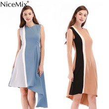 NiceMix 2019 women apricot and blue commuter splicing contrast color sleeveless Knee-Length dress Patchwork A type dresses contrast color full length dress