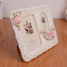 (2 units/pack) Classy Rose Resin Picture Photo Frame with 2 Openings Suitable for Wedding Gifts RPF004