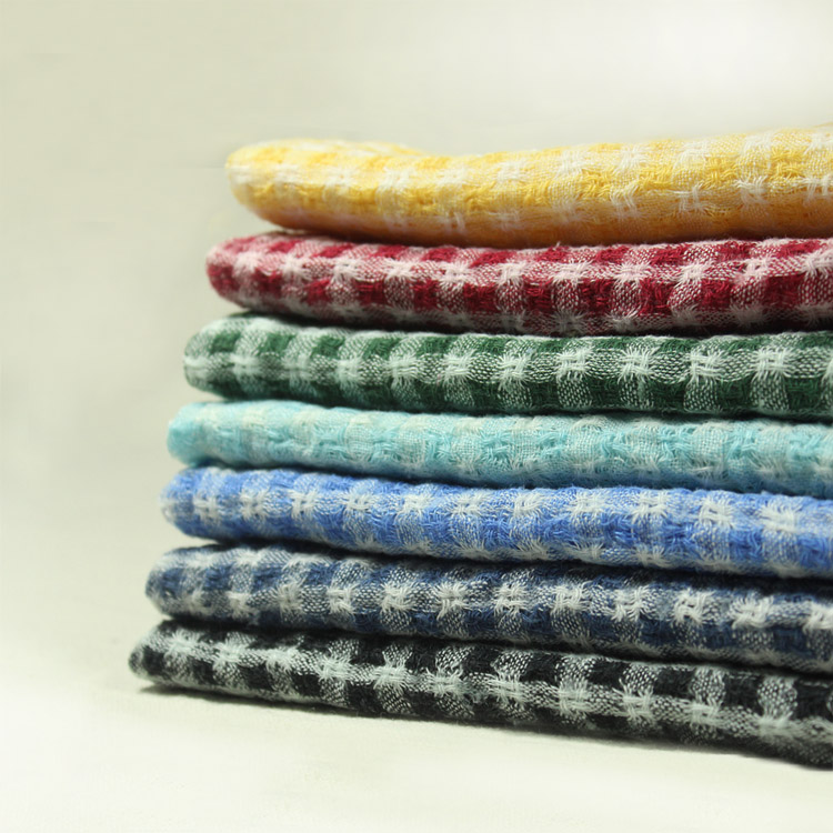 Hand-made clothing fabric dyed yarn-dyed washed linen fabric artists stray small grid style first